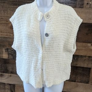 Free People Fuzzy Snap Front Sweater Vest